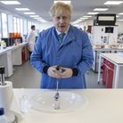 Prime Minister Boris Johnson at a visit to the Mologic Laboratory in Bedford. Photo: Jack Hill - WPA