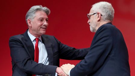 Richard Leonard (left) with Jeremy Corbyn, following a speech during the Labour Party Conference
