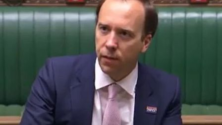 Health secretary Matt Hancock in the House of Commons; Parliamentlive