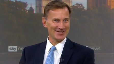 Jeremy Hunt is asked about missing out to Boris Johnson in the race to become PM. Photograph: Sky.