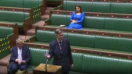 Jacob Rees-Mogg sparked a cringeworthy moment in the Commons after he played a snippet of Rule, Brit