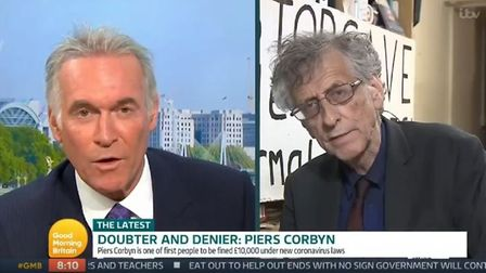 Piers Corbyn is attacked by Dr Hilary Jones on Good Morning Britain. Photograph: ITV.