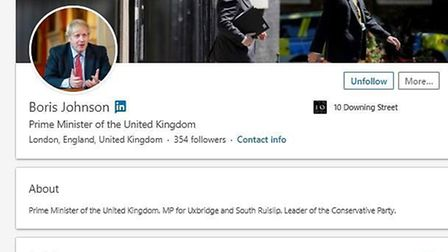 Boris Johnson's LinkedIn page, which was launched today, as he has joined the social network a week