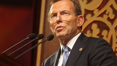 Former Australian prime minister Tony Abbott speaking at the opening ceremony at the Commonwealth Heads of Government...
