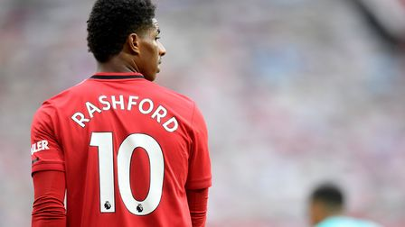 Manchester United's Marcus Rashford during the Premier League match at Old Trafford, Manchester. Pho