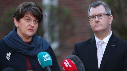 The DUP's Arlene Foster and Jeffery Donaldson speaking to the media. Photograph: Niall Carson/PA.