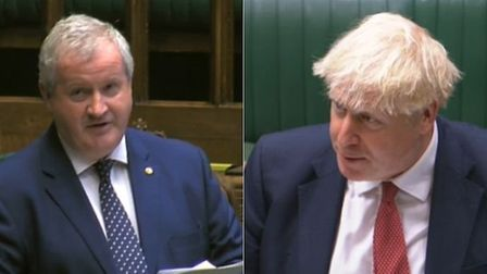 Ian Blackford confronts Boris Johnson in the House of Commons. Photograph: Parliament TV.
