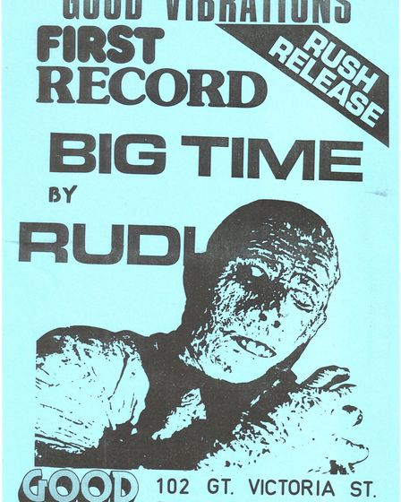 Promo poster for Rudi's Big Time - Good Vibrations' 1978 debut single. Photo: Sean Hennessy