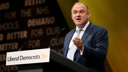 Sir Ed Davey speaking during the Liberal Democrats autumn conference. Photograph: Jonathan Brady/PA.