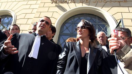 Lawyer Marc Maroselli and Anna Maria Sollacaro, daughter of murdered lawyer Antoine Sollacaro, addre