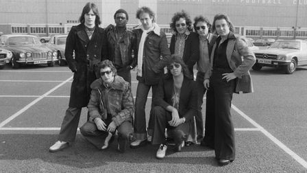 English pop group Showaddywaddy with their cars outside Filbert Street stadium, home of Leicester Ci