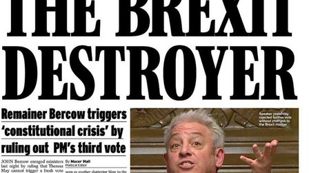 A pro-Brexit front page from the Daily Express. Photograph: Express/Twitter.