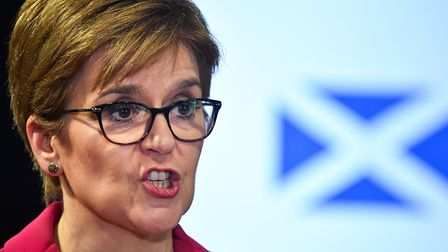 Scotland's First Minister Nicola Sturgeon speaking at a news conference. Photograph: Jeff J Mitchell