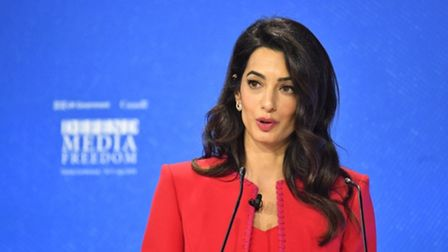 Amal Clooney speaking during the Global Conference for Media Freedom at The Printworks in London. Photograph: Dominic...