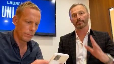 Actor Laurence Fox (L) and former Brexit Party MEP Martin Daubney