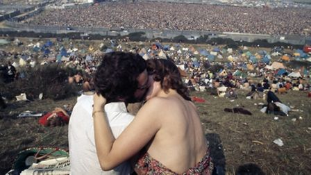 A couple at the Isle of Wight Festival in 1970