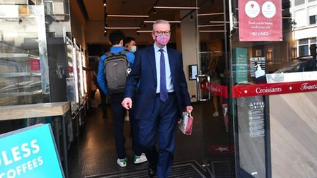 Chancellor of the Duchy of Lancaster Michael Gove leaving a Pret a Manger in Westminster. Photograph: Victoria Jones/PA.
