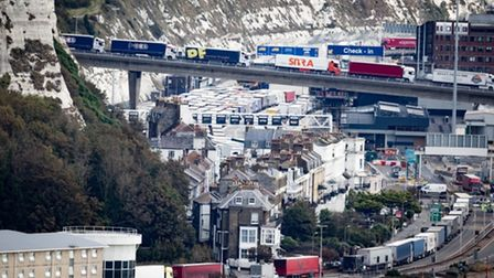 Operation Stack in Dover. Photograph: Aaron Chown PA Wire