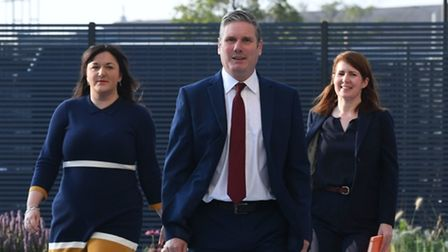 Labour leader Sir Keir Starmer arrives with Ruth Smeeth (left) and his political director Jenny Chapman