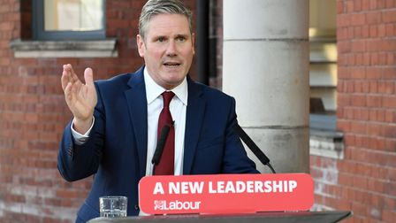 Labour leader Sir Keir Starmer delivers his keynote speech during the party's online conference from