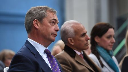 Nigel Farage with former Brexit Party MEPs Ben Habib and Annunziata Rees-Mogg