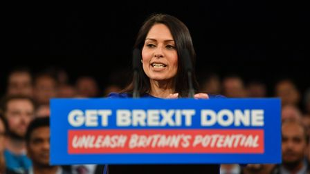 Priti Patel speaking at a Conservative Party event. Photograph: Jacob King/PA.
