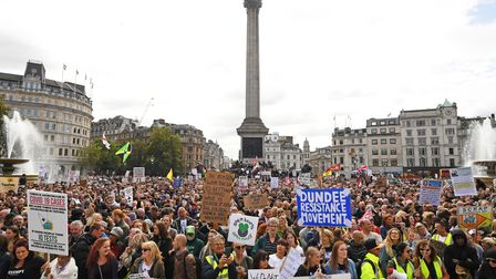 People take part in a 'We Do Not Consent' rally at Trafalgar Square in London, organised by Stop New