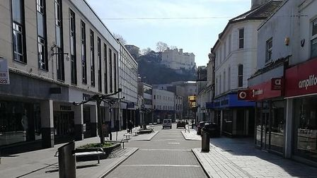 An empty Torquay High Street as residents stay away during the Coronavirus pandemic