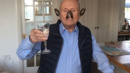 Peter Jaffa, 97, celebrates with mussels